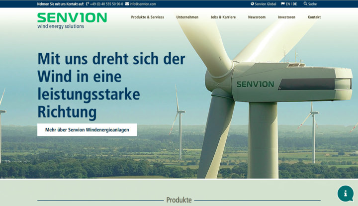 Senvion Windenergy Solutions Homepage Screen